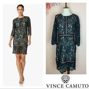 VINCE CAMUTO Two-tone 3/4 Sleeve Sheath Dress